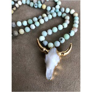 Jewelry - Bohemian Amazonite Stone Knotted Horn Necklace